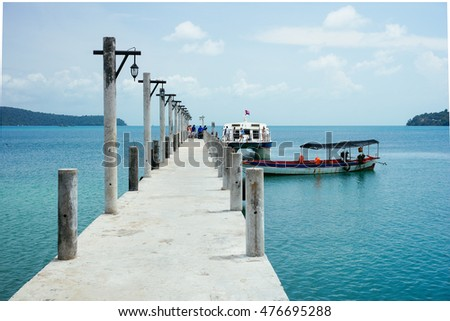 KOH RONG, CAMBODIA - AUGUST 20, 2016: Wharf on Koh Rong Island near Sihanoukville, Cambodia. South East Asia 2016