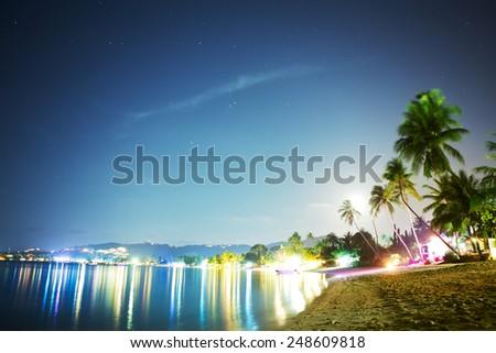 Koh Samui beach at night, Thailand, Asia - stock photo