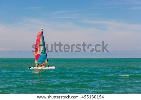 Koh Samui, Thailand - June 12th 2016 - Tourists sailing in a blue water sea in Koh Samui island in Thailand.
