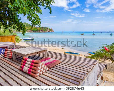 KOH TAO, THAILAND - APR 27: Beautiful beach in Koh Tao, Thailand on April 27, 2015. Koh Tao is an island in Thailand and forms part of the Chumphon Archipelago on the Gulf of Thailand.