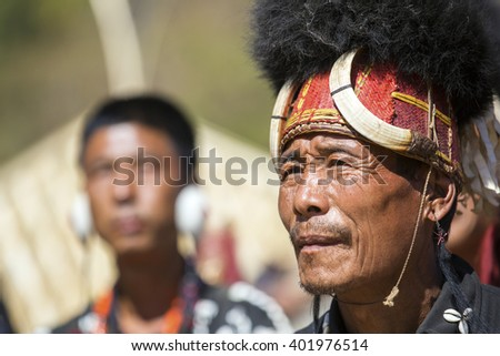 KOHIMA, NAGALAND/INDIA - DECEMBER 3, 2013: Tribesmen of Nagaland at the annual Hornbill festival. The Hornbill is also known as the Festival of Festivals'.