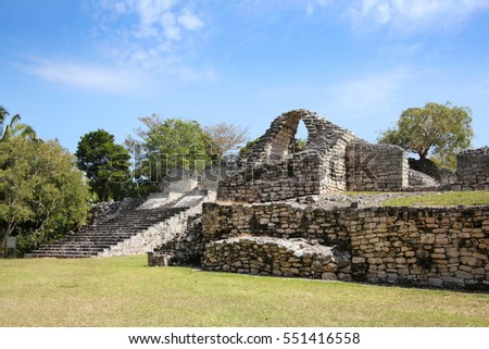 Kohunlich is a large archaeological site of the pre-Colombian Maya civilization, Yucatan Peninsula, Quintana Roo, Mexico.