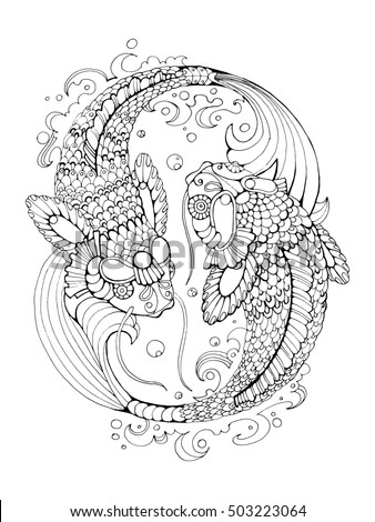Koi Carp Fish Coloring Book For Adults Raster Illustration Anti Stress Adult