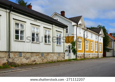 KOKKOLA, FINLAND - JULY 18, 2013:Neristan is old town of Kokkola. It is one of most extensive wooden towns in Finland. National Board of Antiquities has defined Neristan as national built heritage