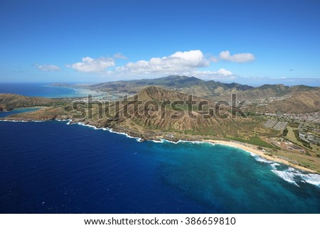 Koko Crater - view from helicopter - Oahu, Hawaii - stock photo