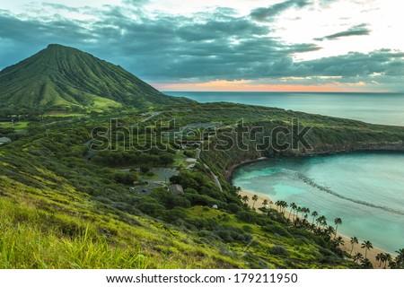 Koko Head Crater and Hanauma Bay at dawn on Oahu, Hawaii - stock photo