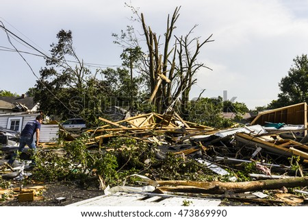 Kokomo - August 24, 2016: Several EF3 tornadoes touched down in a residential neighborhood for the second time in three years causing millions of dollars in damage 37