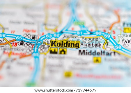 Kolding On Map Stock Photo Royalty Free 719944579 Shutterstock