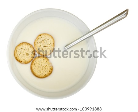 KoldskÃ?Â¥l, Danish cold dessert primarily of buttermilk. With rusks. Isolated on white