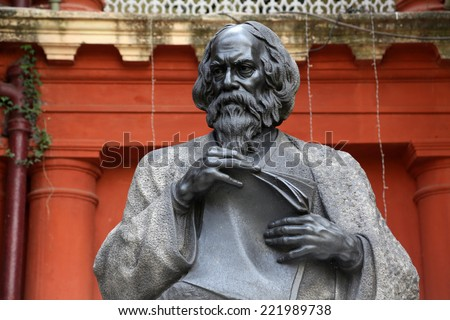 KOLKATA - FEBRUARY 15: Monument of Rabindranath Tagore on February 15, 2014 in Kolkata, India, he became the first non-European to win the Nobel Prize in Literature in 1913. - stock photo