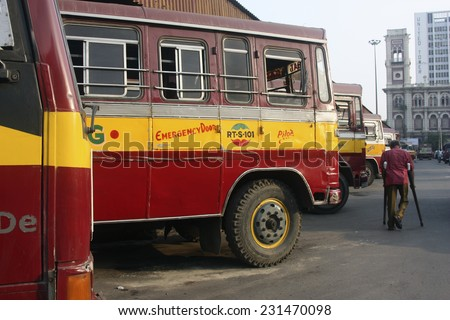KOLKATA, INDIA - CIRCA DECEMBER 2012: Indian passenger bus at Howrah bus station