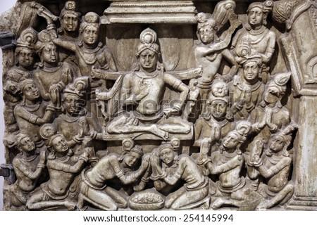 KOLKATA, INDIA - FEBRUARY 15:  Life scenes of Buddha, from 2th century found in Amaravati, Andhra Pradesh now exposed in the Indian Museum in Kolkata, on February 15, 2012 - stock photo