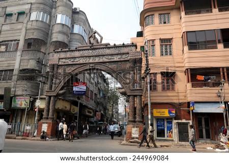 KOLKATA, INDIA - FEBRUARY 15: Thakurbari main gate, home of Rabindranath Tagore at Jorasanko, Kolkata, West Bengal, India on February 15, 2014. - stock photo