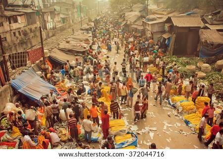 Kolkata India Jan 13 Crowd Busy Stock Photo 372044716