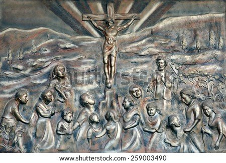 KOLKATA, INDIA - JANUARY 26: Crucifixion, Prem Dan, one of the houses established by Mother Teresa and run by the Missionaries of Charity in Kolkata, India on January 26, 2009. - stock photo