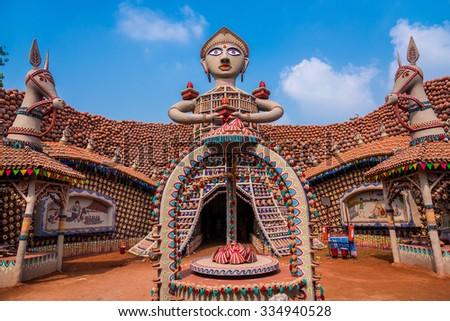 KOLKATA, INDIA - OCTOBER 22, 2015: Beautifully decorated Durga Puja pandal made of clay pots in Kolkata, West Bengal, India. Durga Puja is the biggest religious festival of Hinduism. - stock photo
