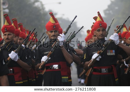 KOLKATA -JANUARY 19 : Army personnel of the Jat Regiment - an infantry regiment of the Indian Army practicing during the Republic Day Parade preparation on January 19, 2015 in Kolkata, India.