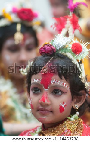 KOLKATA- MARCH  27:  Girl childrens dressed as goddess  during Kumari (young unmarried Hindu girl) Puja festival in Adyapith near Kolkata on 27th March, 2015.