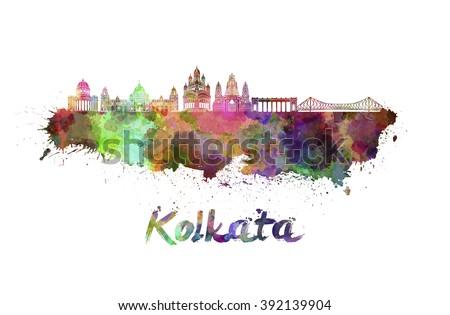 Kolkata skyline in watercolor splatters - stock photo
