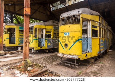 Kolkata tramways an age old historic heritage of Kolkata - stock photo