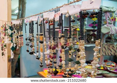 KOLKATA, WEST BENGAL , INDIA - JANUARY 12TH 2014 : Artworks of handicraft, on display during the Handicraft Fair in Kolkata - the biggest handicrafts fair in Asia. - stock photo