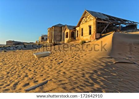 Kolmanskop abandoned diamond town in Namibia - stock photo