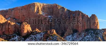 Kolob Canyon with fresh snow, Zion, Utah, USA. - stock photo
