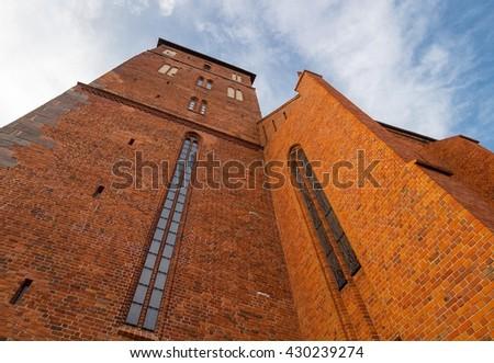 Kolobrzeg Old Cathedral Church walls, Poland - stock photo