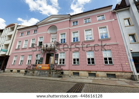 KOLOBRZEG, POLAND - JUNE 23, 2016: Refined bourgeois mansion in the Empire style was built in early nineteenth century, nowadays houses a Branch of City History Museum - stock photo