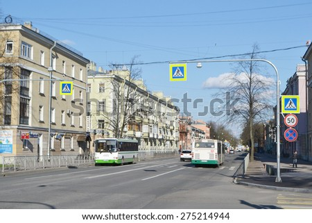 KOLPINO, RUSSIA - MAY 3, 2015: Street in the historic center of Kolpino, suburb of St. Petersburg.