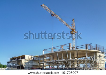 KOLTSOVO, RUSSIA: JUNE 12, 2013 - Construction of technopark in Koltsovo town (Novosibirsk region)