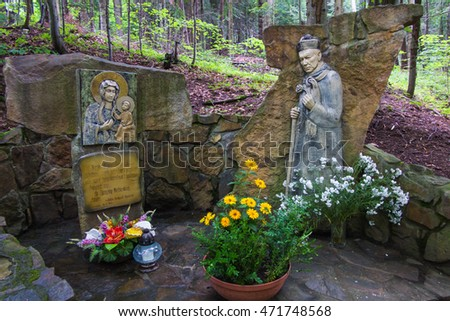 Komancza, Poland - July 20, 2016: Chapel of Mary and the figure Cardinal Wyszynski the woods next to the convent of the Sisters of Nazareth in Komancza. In monastery was interned Card Stefan Wyszynski