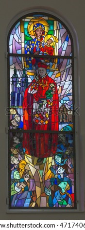 Komancza, Poland - July 20, 2016: Stained glass in the chapel of the convent of the Sisters of Nazareth in Komancza. From 1955 to 1956, the monastery was interned Cardinal Stefan Wyszynski