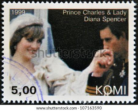 KOMI - CIRCA 1999: A stamp printed in  Komi shows Prince Charles and Diana, princess of Wales, circa 1999 - stock photo