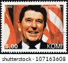KOMI - CIRCA 1999: A stamp printed in  Komi shows Ronald Reagan, circa 1999 - stock photo