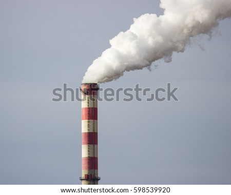Konin, Poland. View of the working power station, smoking chimneys.