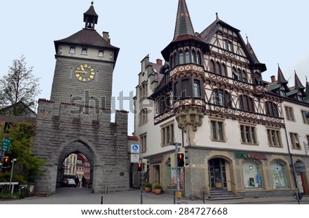 KONSTANZ, GERMANY - APRIL 21: The town is situated on famous lake Constance on the boarder of three countries: Germany, Austria ans Switzerland. Konstanz, Germany - Apr 21, 2014 - stock photo