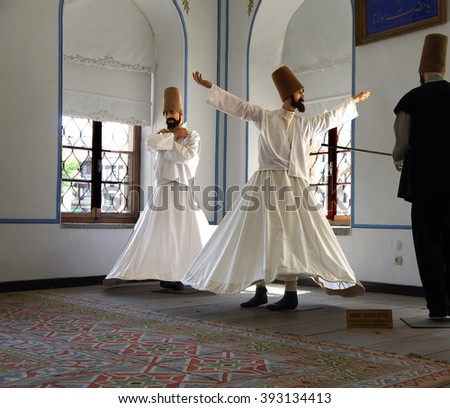 KONYA, TURKEY - JUN 3, 2014 - Whirling dervish school display at Mevlana shrine in  Konya, Turkey