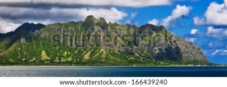 Koolau Range on Oahu, Hawaii - stock photo