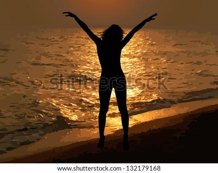 Kopeck piece silhouette at sunset sea. Raster - stock photo