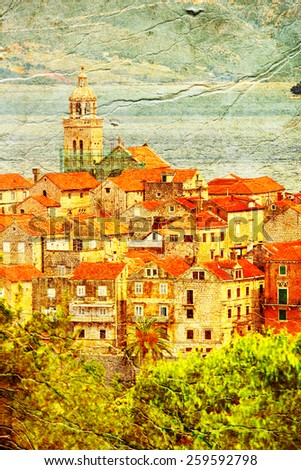 Korcula. Croatia. Picture in artistic retro style. - stock photo