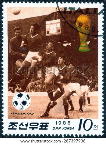 "KOREA - CIRCA 1988: A Stamp printed in Korea shows a series of images "" World Cup in Italy"", circa 1988 - stock photo"