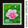 KOREA - CIRCA 1980: Stamp printed in Korea shows a flower and some leaves, circa 1980 - stock photo