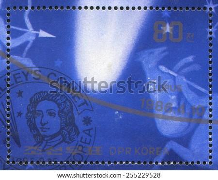KOREA DPR - CIRCA 1986: stamp printed by Korea DPR, shows Cometâ??s trajectory, circa 1986 - stock photo