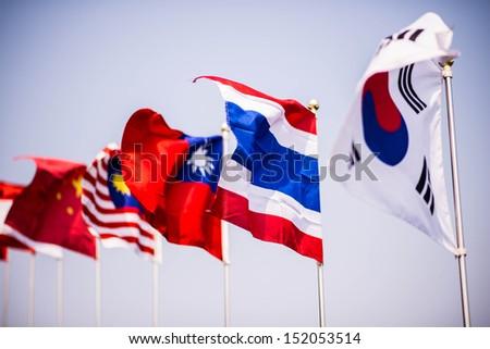 korea flag and thai flag - stock photo