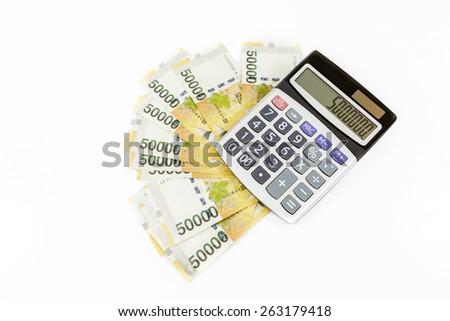 korea money with calculator - stock photo