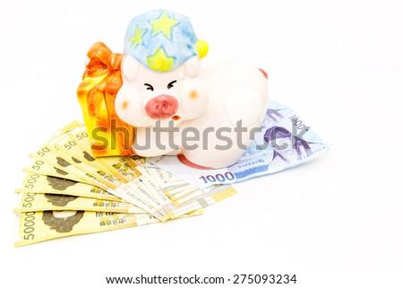 Korea money with Gift envelope on white background - stock photo