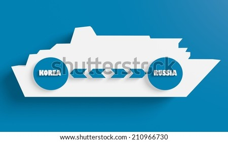 korea russia ferry boat route info in icons - stock photo