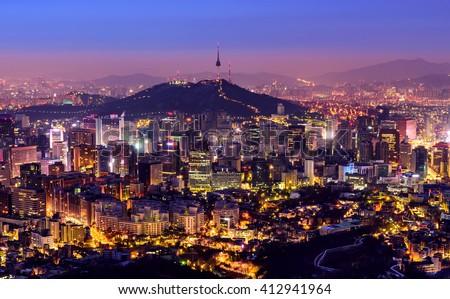 Korea,Seoul city and namsan tower at night - stock photo
