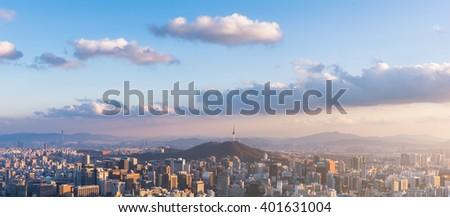 Korea,Sunset of Seoul City Skyline. - stock photo